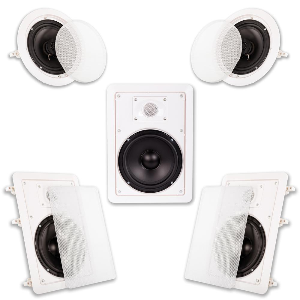 Acoustic Audio By Goldwood In Wall Ceiling 1250 Watt 6 5 In Home Theater 5 Speaker System