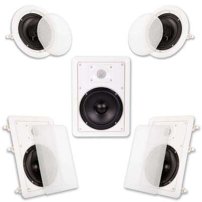 In Wall/Ceiling 1250-Watt 6.5 in. Home Theater 5 Speaker System