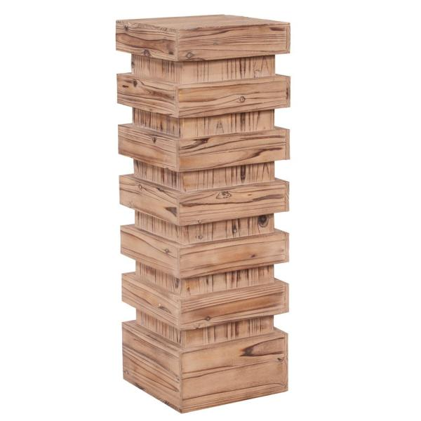Tall Stepped Natural Wood Pedestal Table