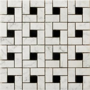 Marble Bianco Gioia Black Honed 12.01 in. x 12.01 in. x 10 mm Marble Mesh-Mounted Mosaic Tile (1 sq. ft.)