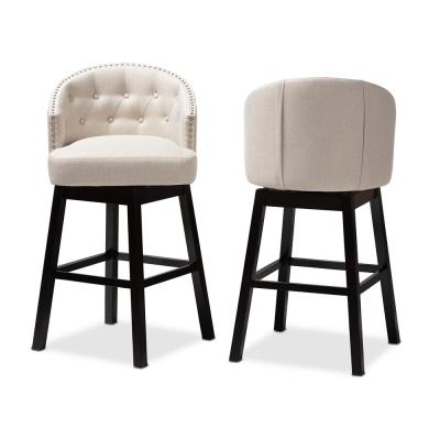 Theron 42 in. Light Beige and Espresso Bar Stool (Set of 2)