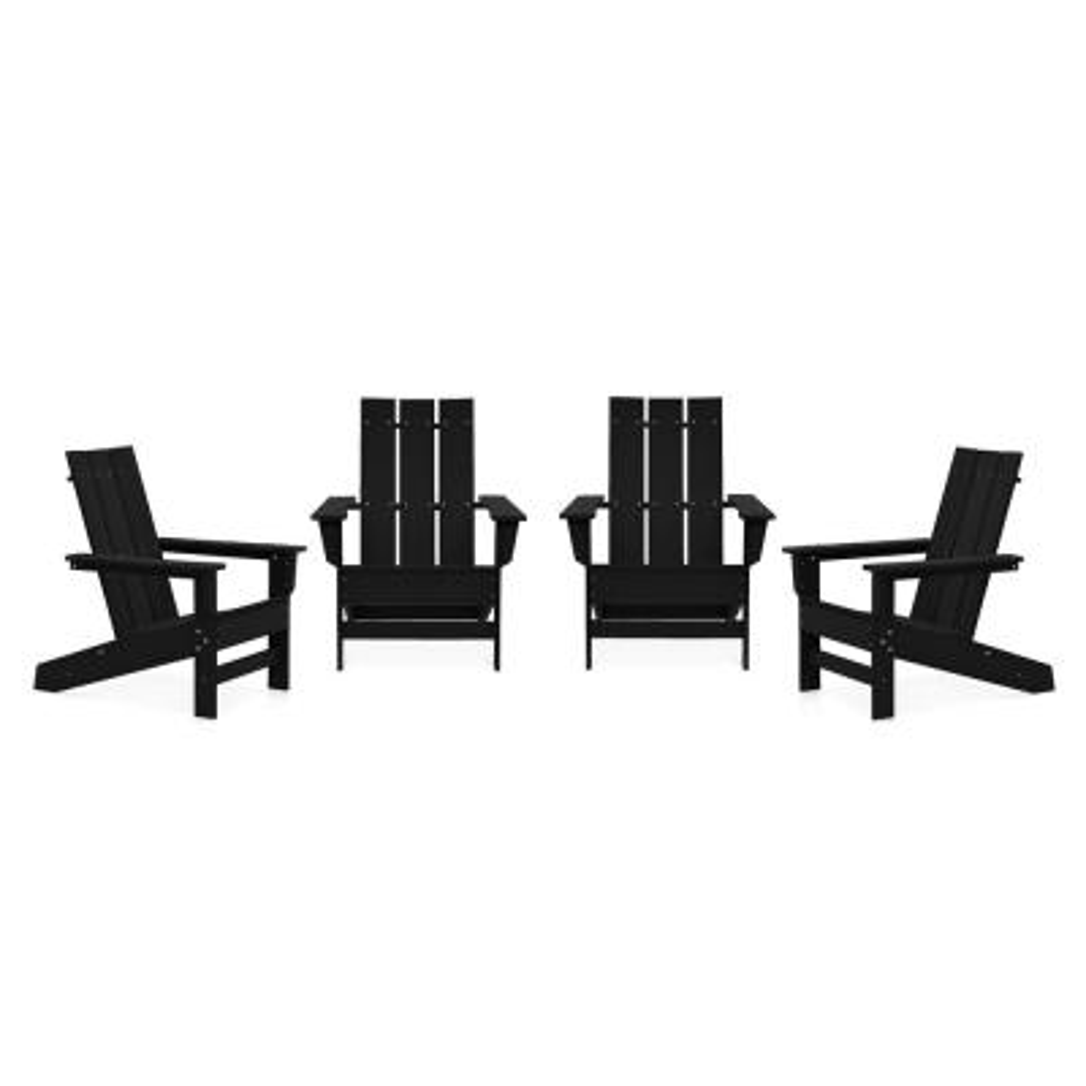 Aria Black Recycled Plastic Modern Adirondack Chair (4-Pack)