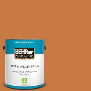 Behr Premium Plus 1 Gal M230 7 Rumba Orange Satin Enamel Low Odor Interior Paint And Primer In One 730001 The Home Depot