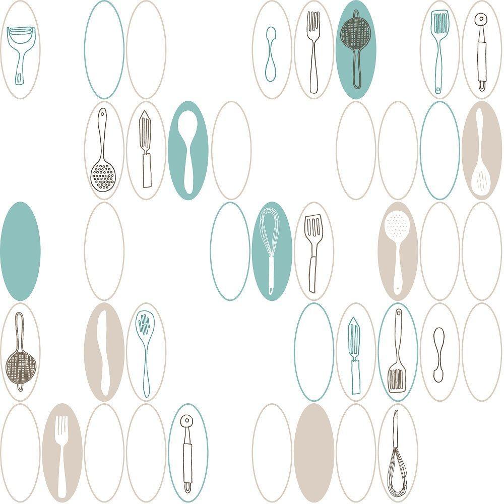 Kitchen Utensils Background: York Wallcoverings Kitchen Utensils And Ovals Wallpaper