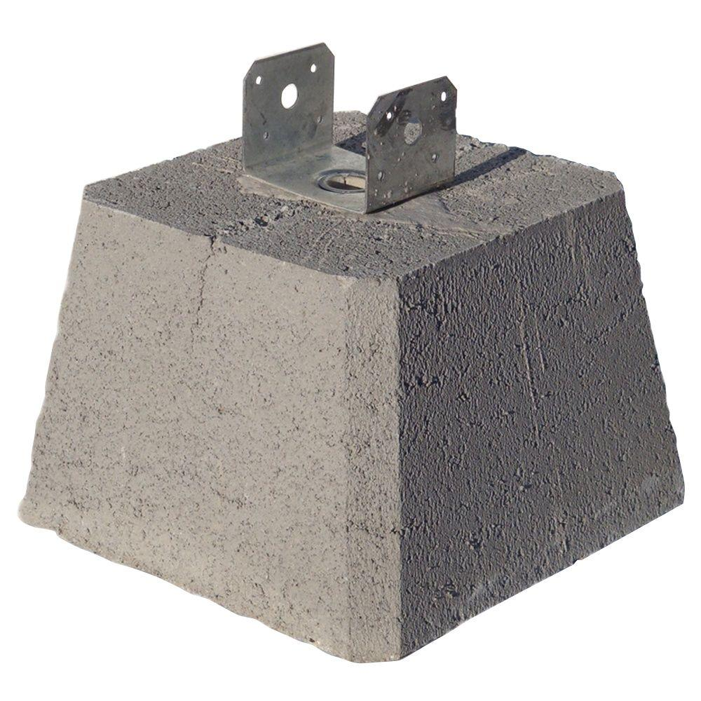 Concrete Deck Blocks Home Depot : Concrete pier block with metal bracket  the home