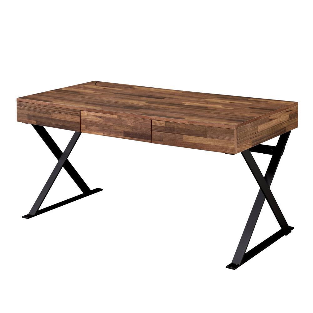 Furniture of America Lozano Sand Black Writing Desk IDF-DK807