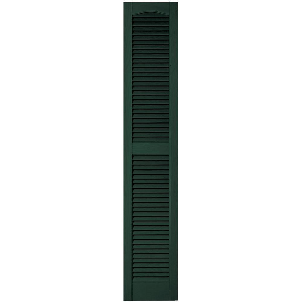 12 in. x 64 in. Louvered Vinyl Exterior Shutters Pair in