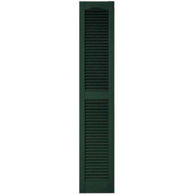 12 in. x 64 in. Louvered Vinyl Exterior Shutters Pair in #122 Midnight Green