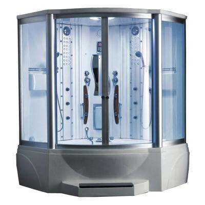 63 in. x 63 in. x 89 in. Steam Shower Enclosure Kit with Jacuzzi in White