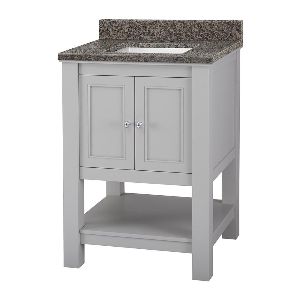 Home Decorators Collection Gazette 25 in. x 19 in. Vanity in Grey with Granite Vanity Top in Sircolo with White Sink was $749.0 now $524.3 (30.0% off)