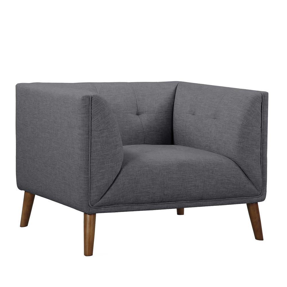 Hudson Dark Gray Linen and Walnut Legs Mid-Century Button-Tufted Accent Chair