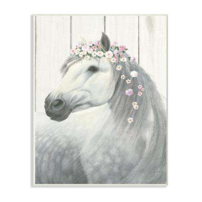 """12.5 in. x 18.5 in. """"Spirit Stallion Horse with Flower Crown"""" by James Wiens Printed Wood Wall Art"""