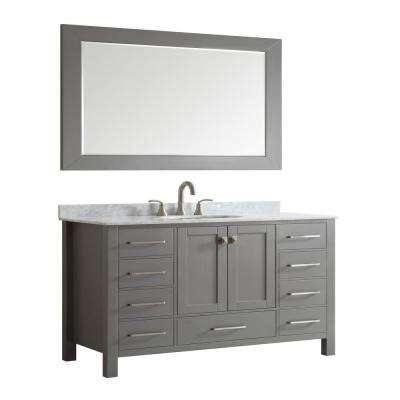 Aberdeen 60 in. W x 22 in. D x 34 in. H Vanity in Gray with Carrara Top in White with White Basin
