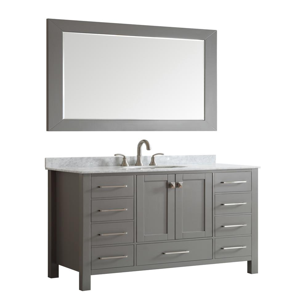 Eviva Vanity Gray Top White Basin