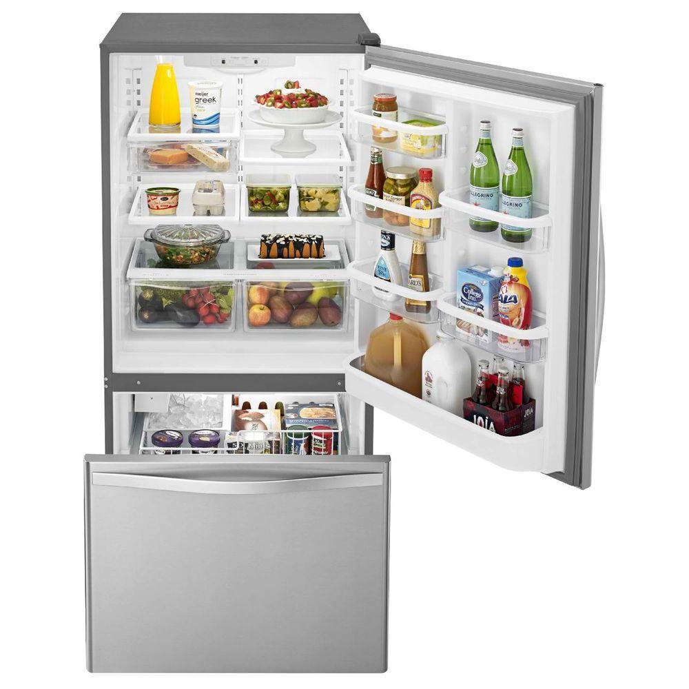 Terrific Whirlpool 22 Cu Ft Bottom Freezer Refrigerator In Stainless Steel With Spill Guard Glass Shelves Interior Design Ideas Gentotryabchikinfo