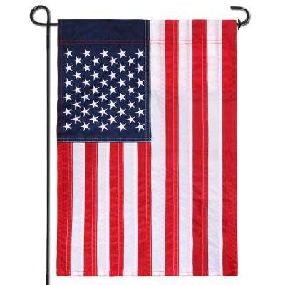 18 in. x 12.5 in. Embroidered Stars USA Garden Flag American July 4th United States Flags Sewn Stripes and Double Stitch