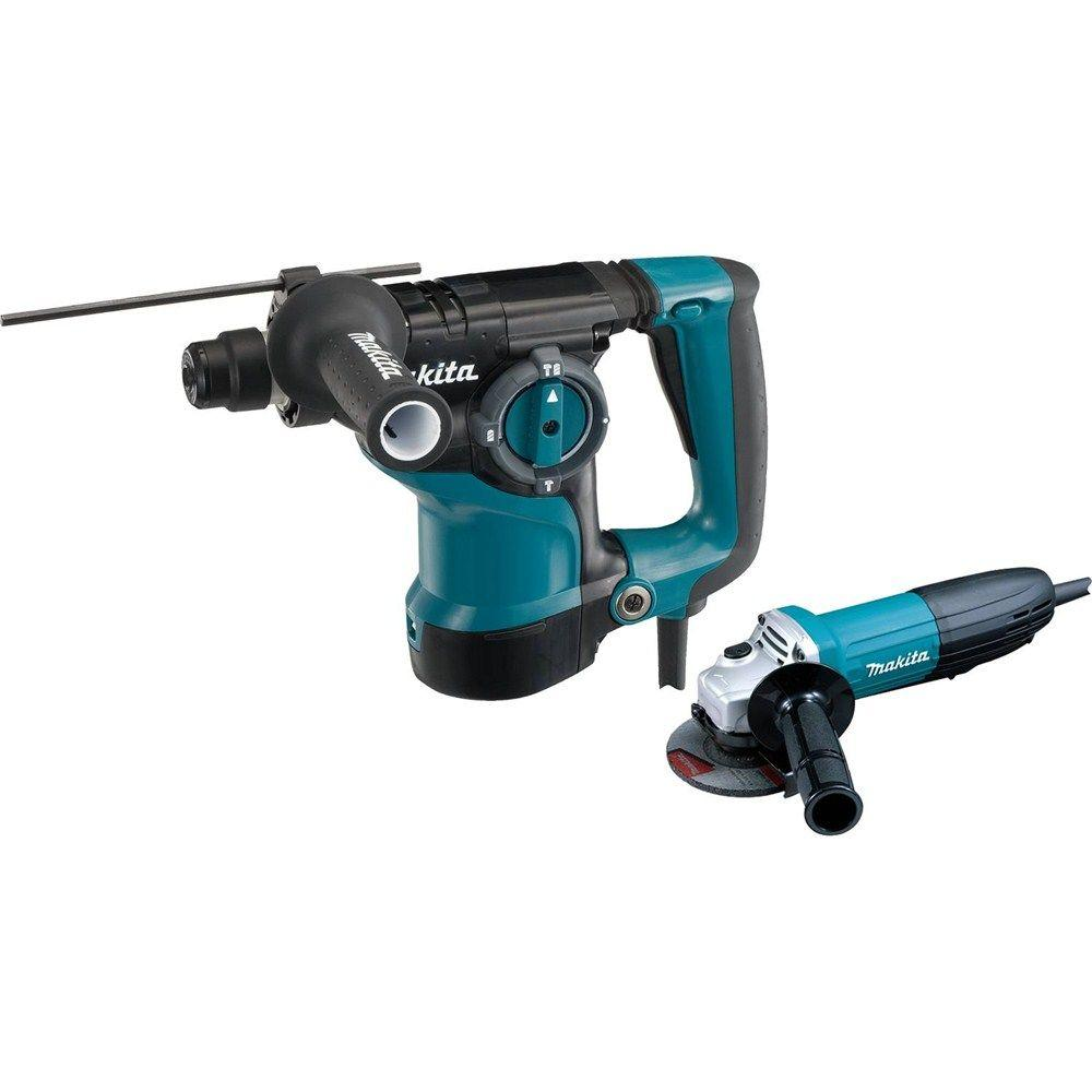 Makita 7 Amp 1-1/8 in. Corded SDS-Plus Concrete/Masonry Rotary Hammer Drill with 7.5 Amp 4-1/2 in. Angle Grinder and Hard Case