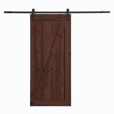 36 in. x 84 in. Canadian Hemlock Distressed Smoke Barn Door with Sliding Door Hardware Kit