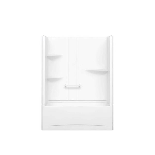 Camelia TS 33 in. x 60 in. x 79 in. Bath and Shower Kit with Left Hand Drain in White