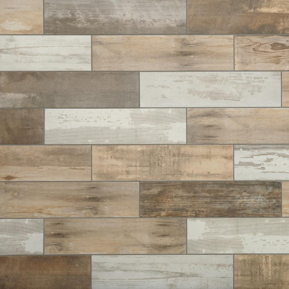 Marazzi montagna wood vintage chic 6 in x 24 in for Tile and hardwood floor