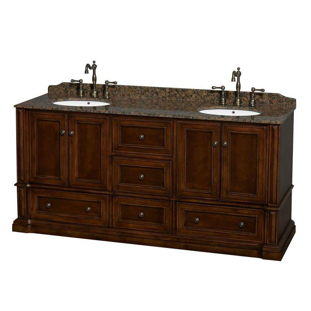 Wyndham Collection Rochester 73.5 in. Double Vanity in Cherry with Granite Vanity Top in Baltic Brown and Oval Sinks