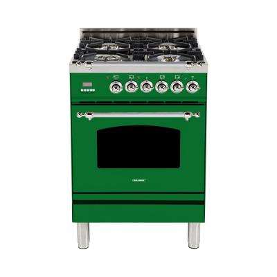 24 in. 2.4 cu. ft. Single Oven Dual Fuel Italian Range with True Convection, 4 Burners, Chrome Trim in Emerald Green