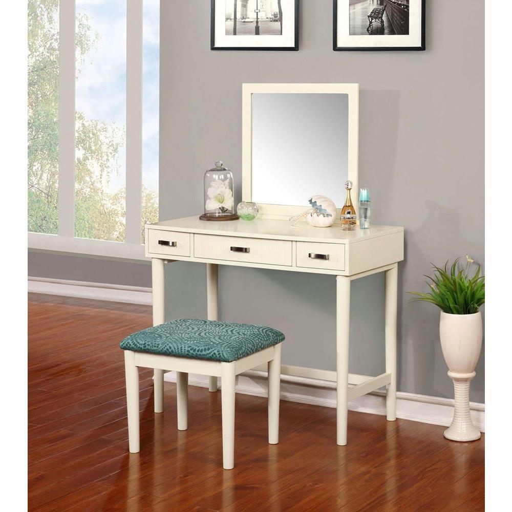 Linon Home Decor Garbo 2 Piece Cream Vanity Set