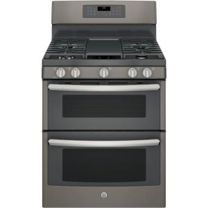 Click here to buy GE 6.8 cu. ft. Double Oven Gas Range with Self-Cleaning Convection Oven (Lower Oven) in Slate.
