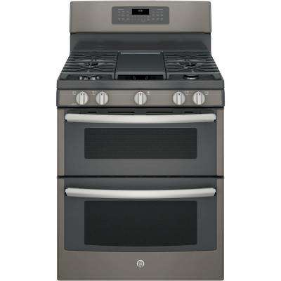 6.8 cu. ft. Double Oven Gas Range with Self-Cleaning Convection Oven (Lower Oven) in Slate, Fingerprint Resistant