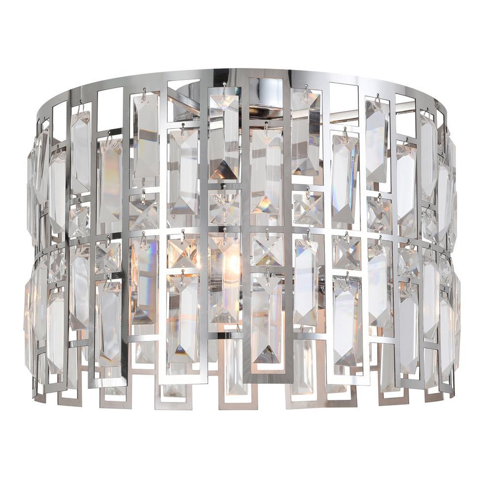 Juliana 14 in. 2-Light Crystal and Chrome Flush Mount
