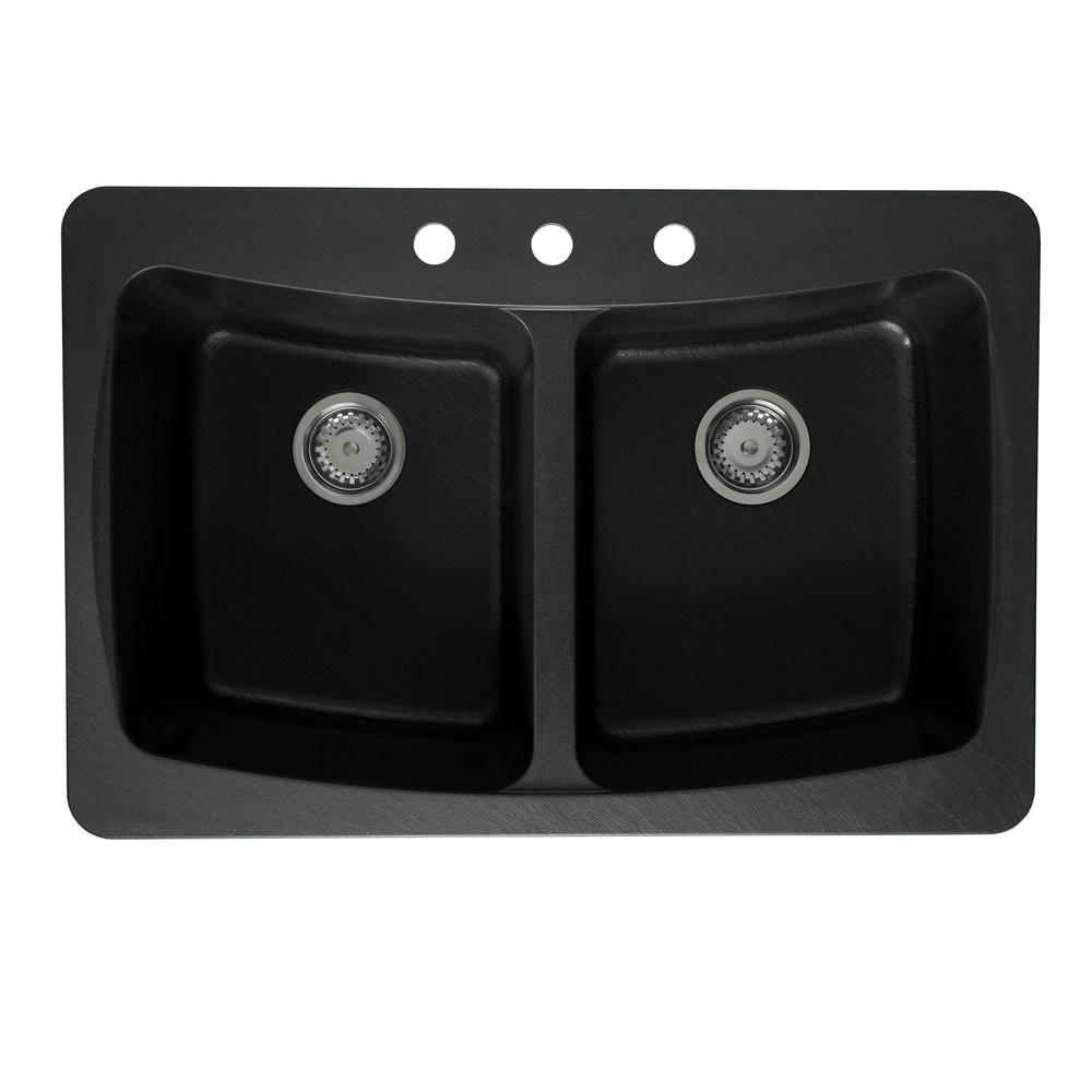 Pegasus Dual Mount Granite 33x22x9 3-Hole Textured Double Basin Kitchen Sink in Metallic Black