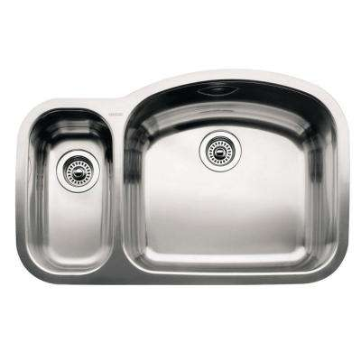 WAVE Undermount Stainless Steel 32 in. Reverse 1-1/2 Bowl Kitchen Sink