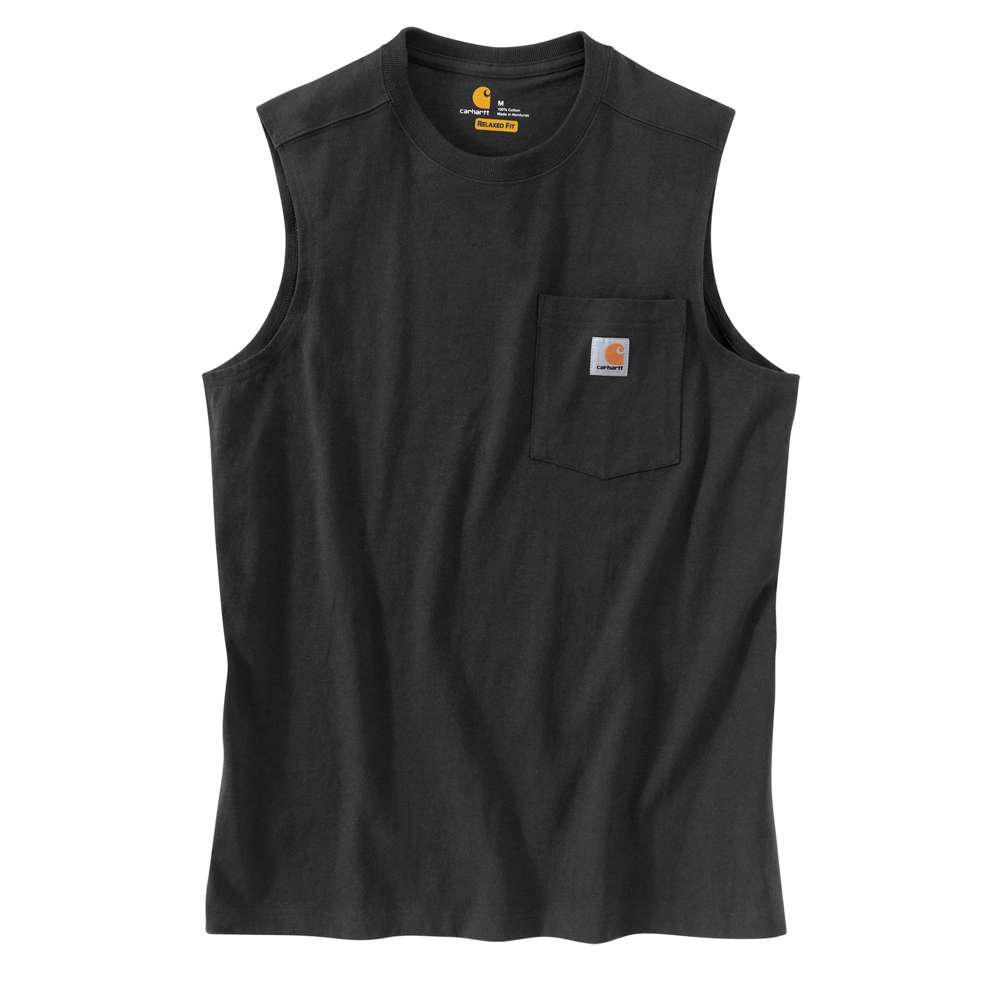 Men's Regular Large Black Cotton Sleeveless T-Shirt