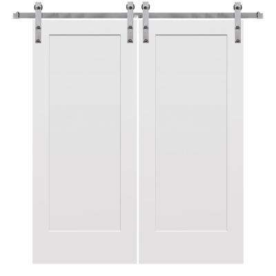 64 in. x 80 in. Smooth Madison Primed Composite Double Barn Door with Stainless Steel Sliding Door Hardware Kit