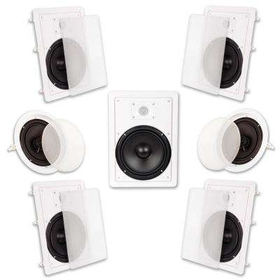 In Wall/Ceiling 2100-Watt 8 in. Home Theater 7 Speaker System