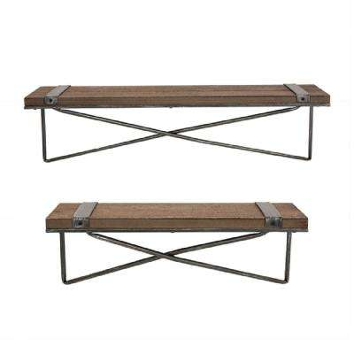 Rustic Farmhouse Metal Wooden Decorative Wall Shelf with brackets (Set of 2)