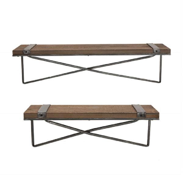 Glitzhome Rustic Farmhouse Metal Wooden Decorative Wall Shelf with brackets (Set