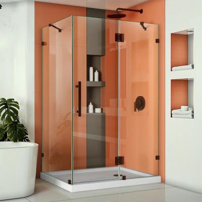 Quatra Lux 46-3/8 in. W x 34-1/4 in. D x 72 in. H Frameless Corner Hinged Shower Enclosure in Oil Rubbed Bronze