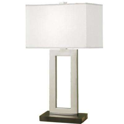 Geometric 29 in. Contemporary Chrome and Black Contrast Table Lamp with Rectangular Hardback Shade