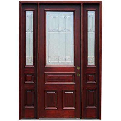 70 in. x 96 in. 3/4 Lite Stained Mahogany Wood Prehung Front Door w/ 6 in Wall Series, 14 in Sidelites, 8 ft H Series
