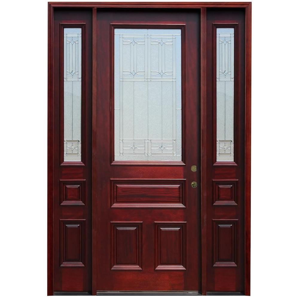 Pacific Entries 64 in. x 96 in. Traditional 3/4 Lite Stained Mahogany Wood Prehung Front Door with 12 in. Sidelites