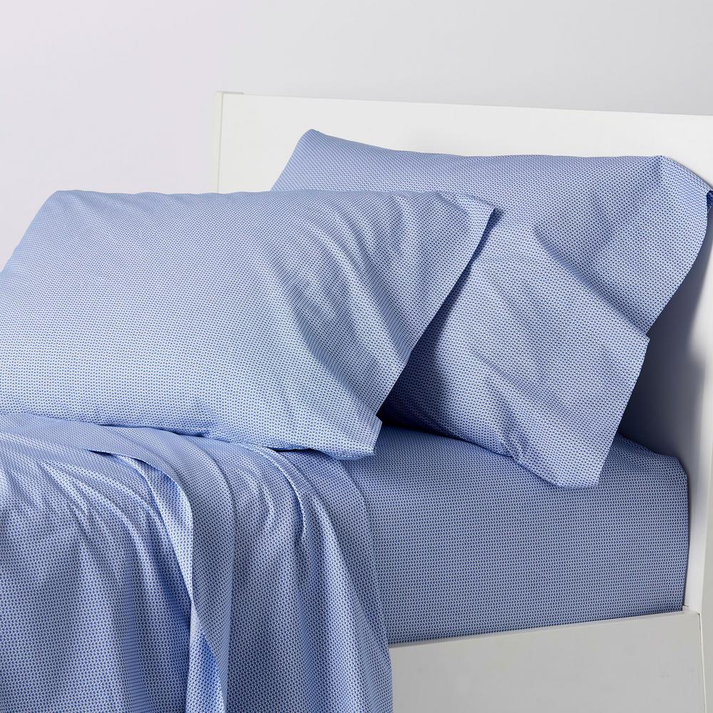 The Company Store Arrowhead 4-Piece White/Blue 200-Thread Count Cotton Percale