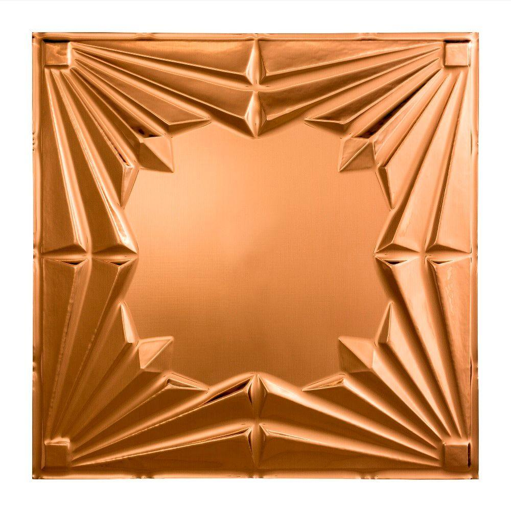 Fasade Art Deco - 2 ft. x 2 ft. Lay-in Ceiling Tile in Polished Copper