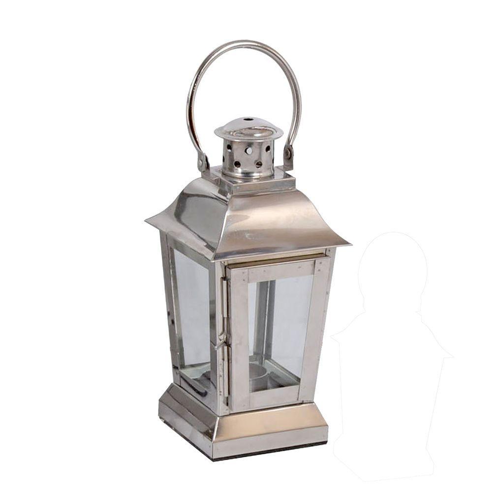 10.5 in. Chrome Square Small Lantern