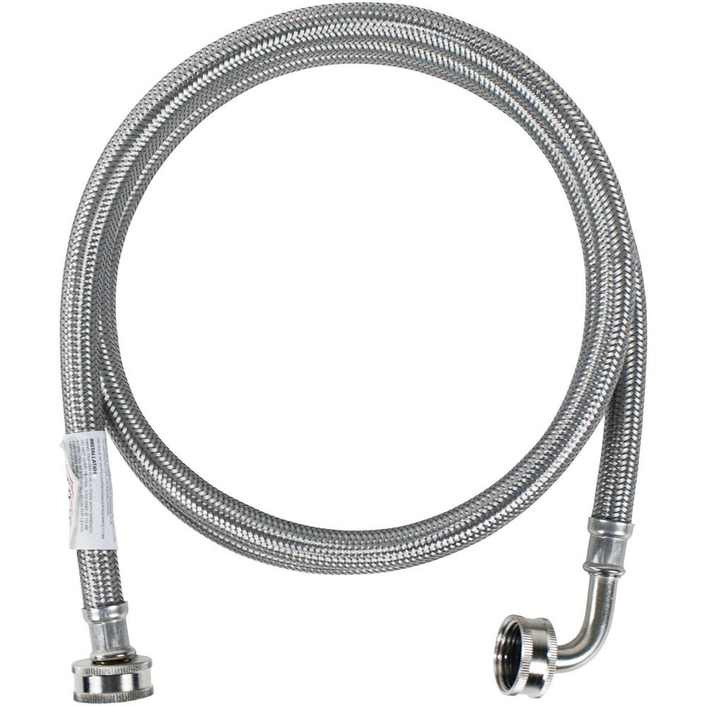 CERTIFIED APPLIANCE ACCESSORIES 4 ft. Braided Stainless Steel Washing Machine Hose with Elbow, Silver For years, licensed plumbers, electricians and appliance installers have relied on CERTIFIED APPLIANCE ACCESSORIES for their power cords, hoses and connectors. Now you can too. Enjoy the convenience offered by this washing machine hose with elbow from CERTIFIED APPLIANCE ACCESSORIES. Its flexibility and durability ensure a reliable connection for your next home installation project. This high-quality washing machine hose has been thoroughly tested and is backed by a 5-year limited warranty. Always consult your appliances installation instructions. Check your appliance's manual for the correct specifications to ensure this is the right hose for you. Thank you for choosing CERTIFIED APPLIANCE ACCESSORIES Your Appliance Connection Solution. Color: Stainless Steel.