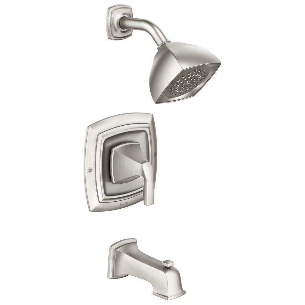 MOEN MOEN Hensley Single-Handle 1-Spray Tub and Shower Faucet with Valve in Spot Resist Brushed Nickel (Valve Included)