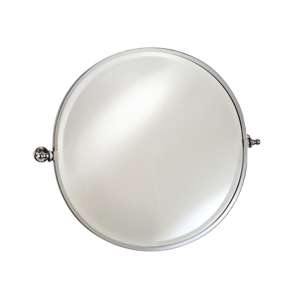Radiance 28 in. W x 24 in. H Framed Round Bathroom Vanity Mirror in SATIN NICKEL