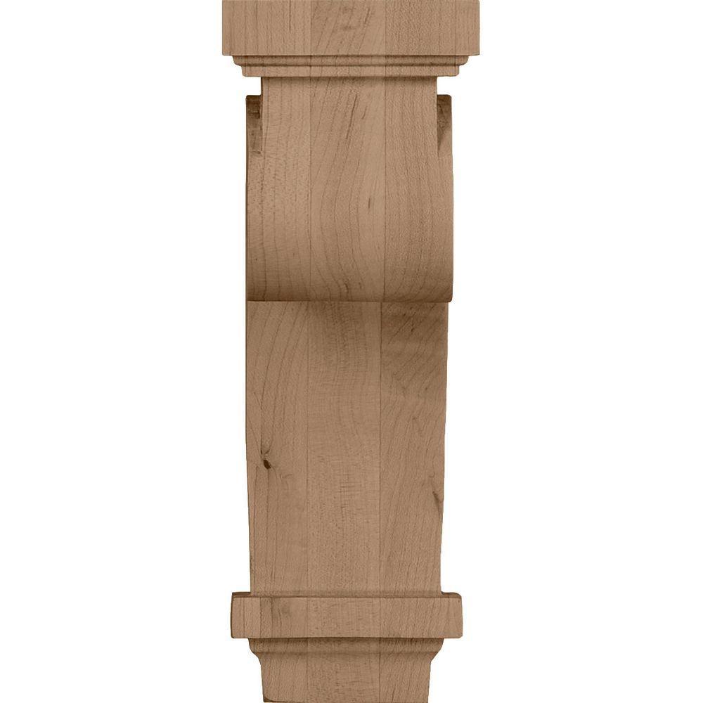 2-Pack Rubberwood Ekena Millwork COR04X04X12ARRW-CASE-2 4 inch W x 4 inch D x 12 inch H Arts /& Crafts Corbel ,