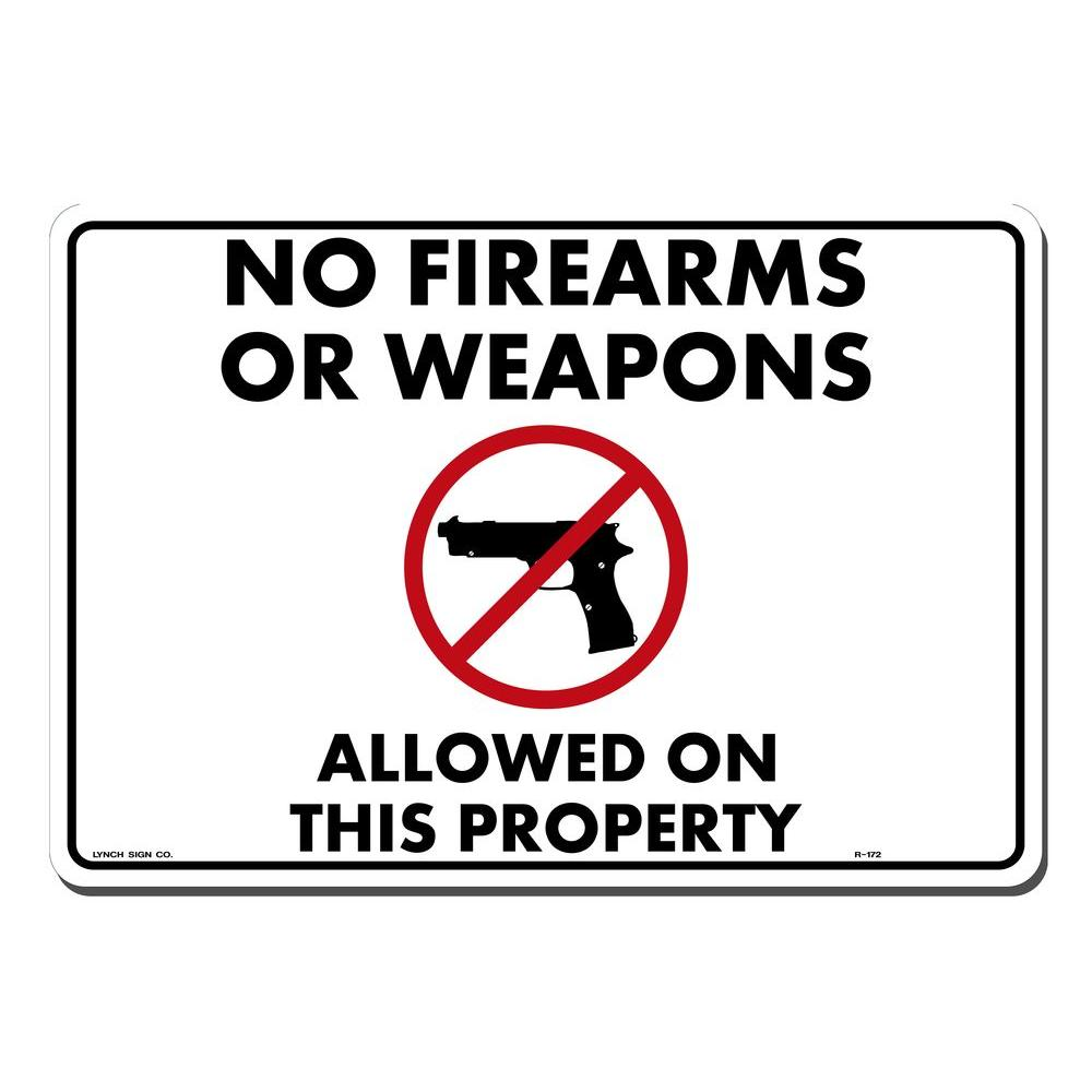 14 in. x 10 in. No Fire Arms Sign Printed on
