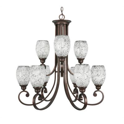 9-Light Bronze Chandelier with Black Fusion Glass Shade